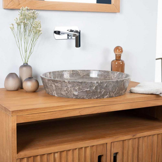 lavabo encimera de mármol para cuarto de baño Malo gris 45 cm