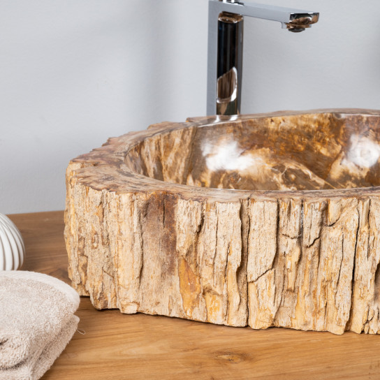 Lavabo sobre encimera : Lavabo de madera petrificada ...