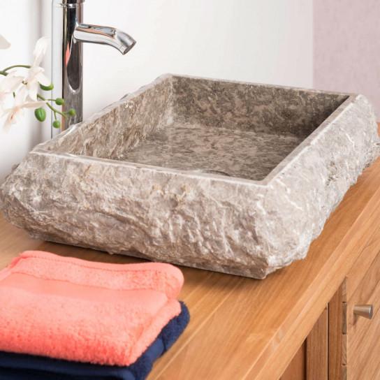 lavabo sobre encimera de mármol: Nápoles, rectángulo, gris ...