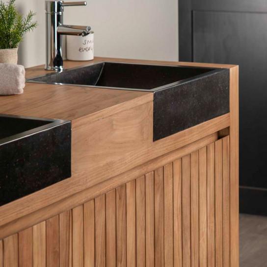 Mueble de teca lavabos para cuarto de baño LUJO 140 negro