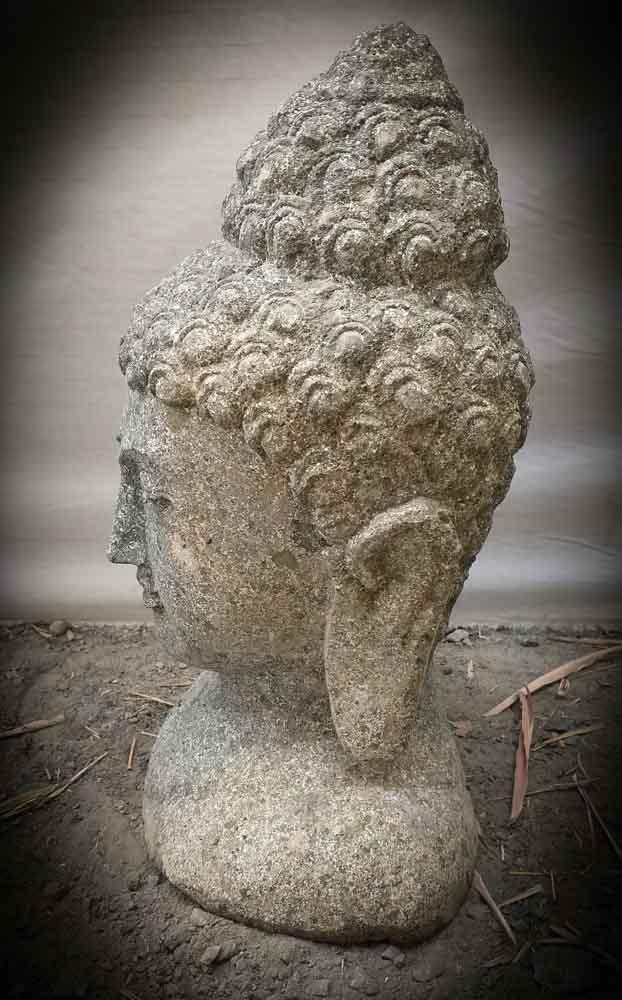 Estatua de buda busto de piedra natural piedra for Piedra volcanica para jardin