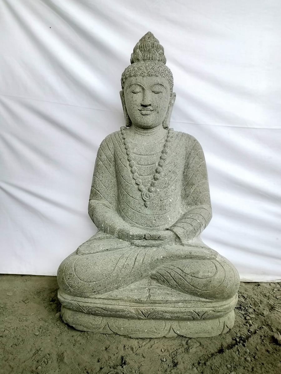 Escultura de jard n de piedra volc nica de buda collar 1 m for Piedra volcanica para jardin