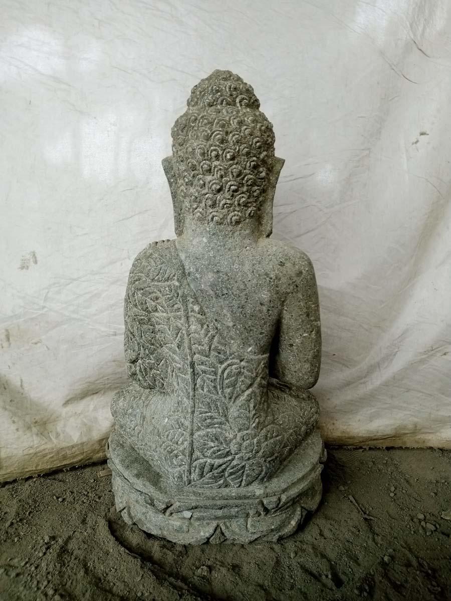 Escultura de piedra volc nica de buda en posici n chakra for Piedra volcanica para jardin
