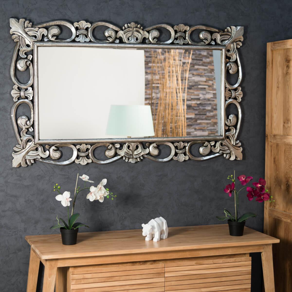 Espejo c rdoba de madera con p tina plateada 140 x 80 for Espejo 140 x 80