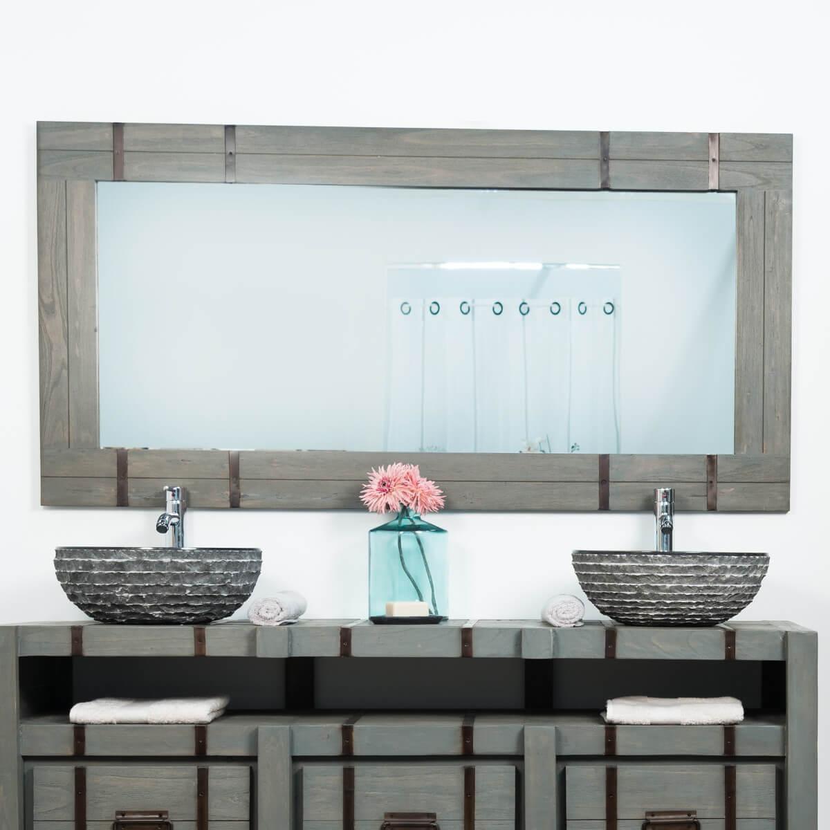 Espejo grande para cuarto de ba o loft 160 x 80 gris for Espejos grandes para cuartos