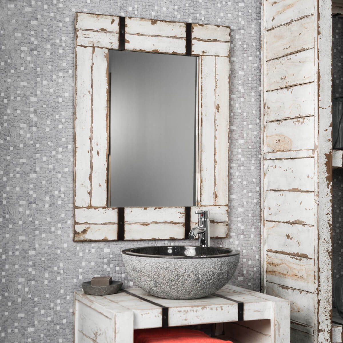 Espejo para cuarto de baño de mindi 60 x 80 cm LOFT blanco