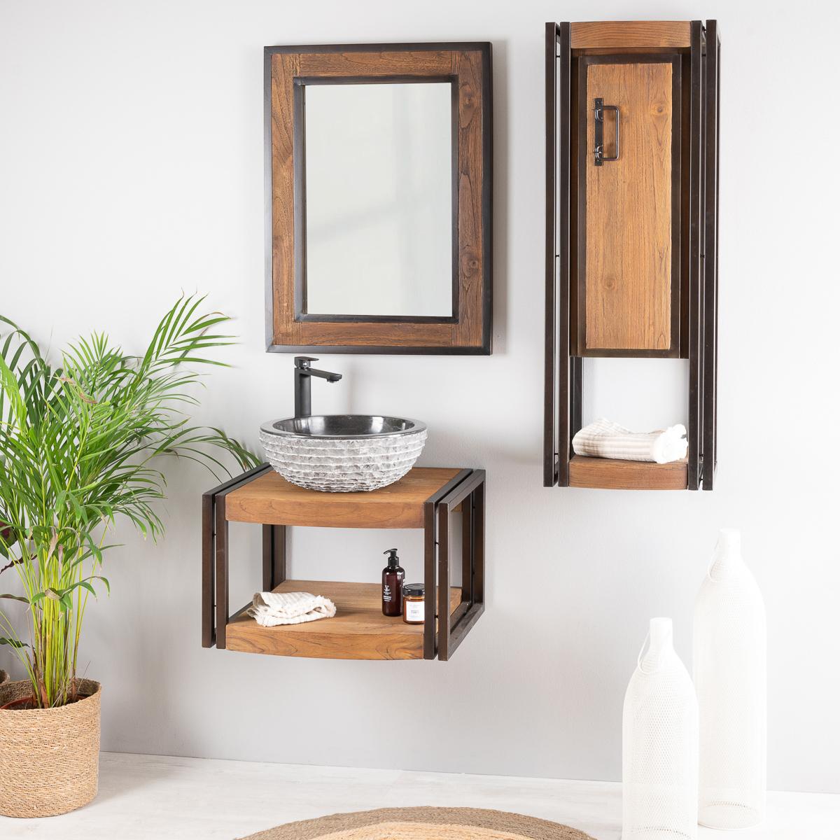 Espejo para cuarto de ba o madera metal 60x80 cm - Espejos para cuarto de bano ...