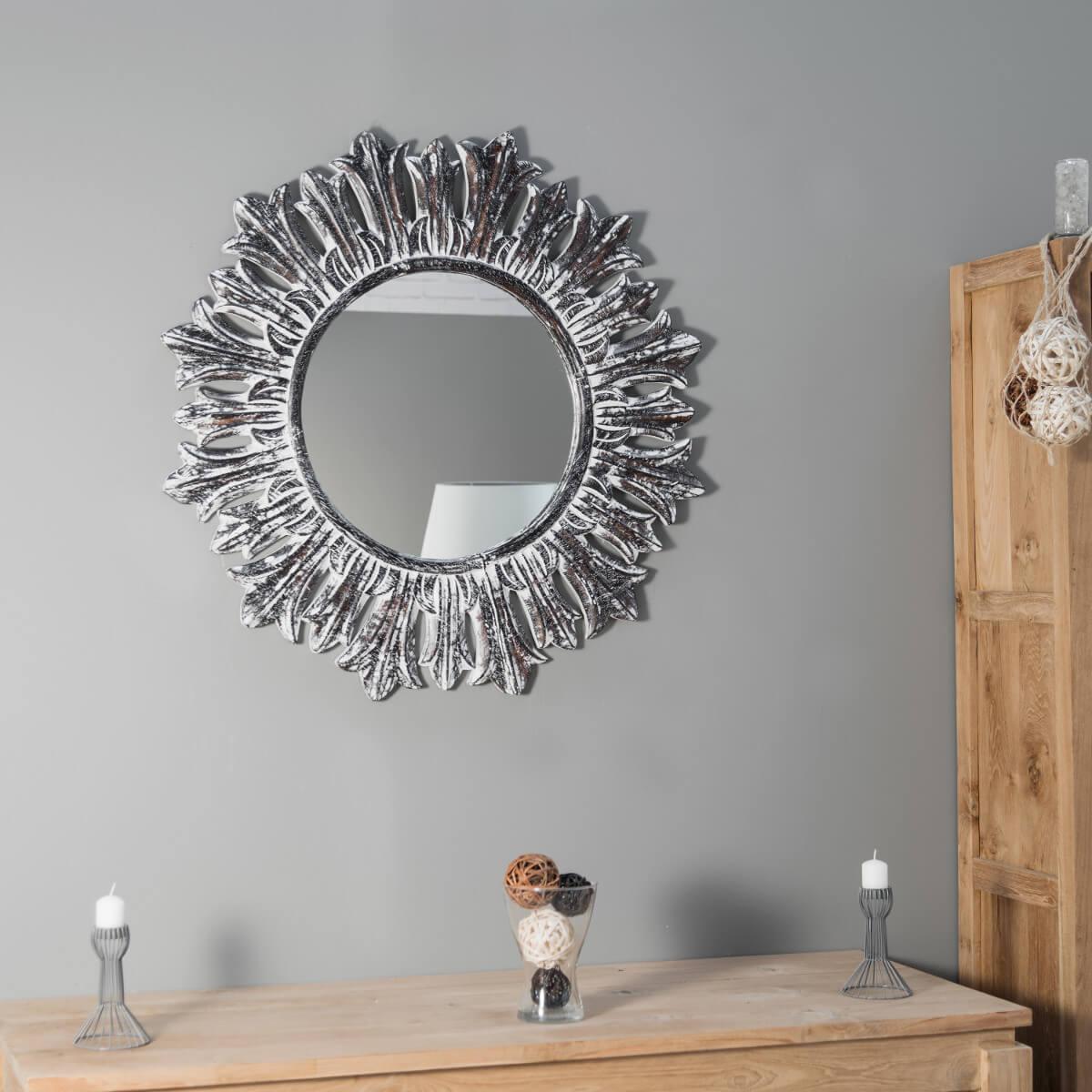 Espejo sol redondo de madera con p tina 90 cm for Espejos redondos con marco de madera