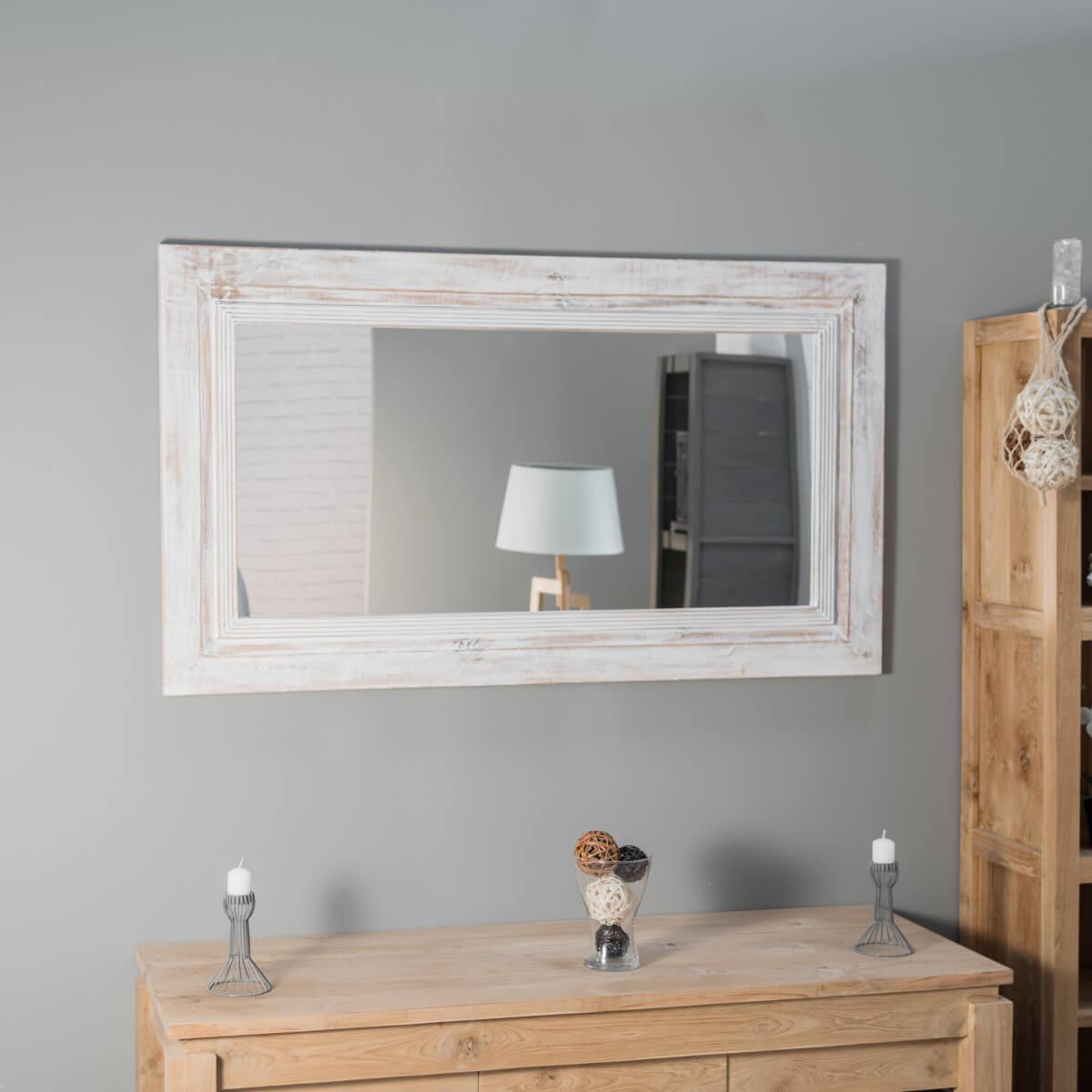 Espejo venecia de madera con p tina lacado blanco 140 x 80 cm for Espejo 140 x 80