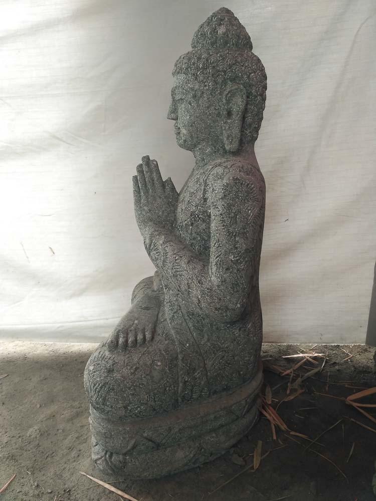 Estatua buda sentado de piedra volc nica rezo jard n zen 80 cm for Piedra volcanica para jardin