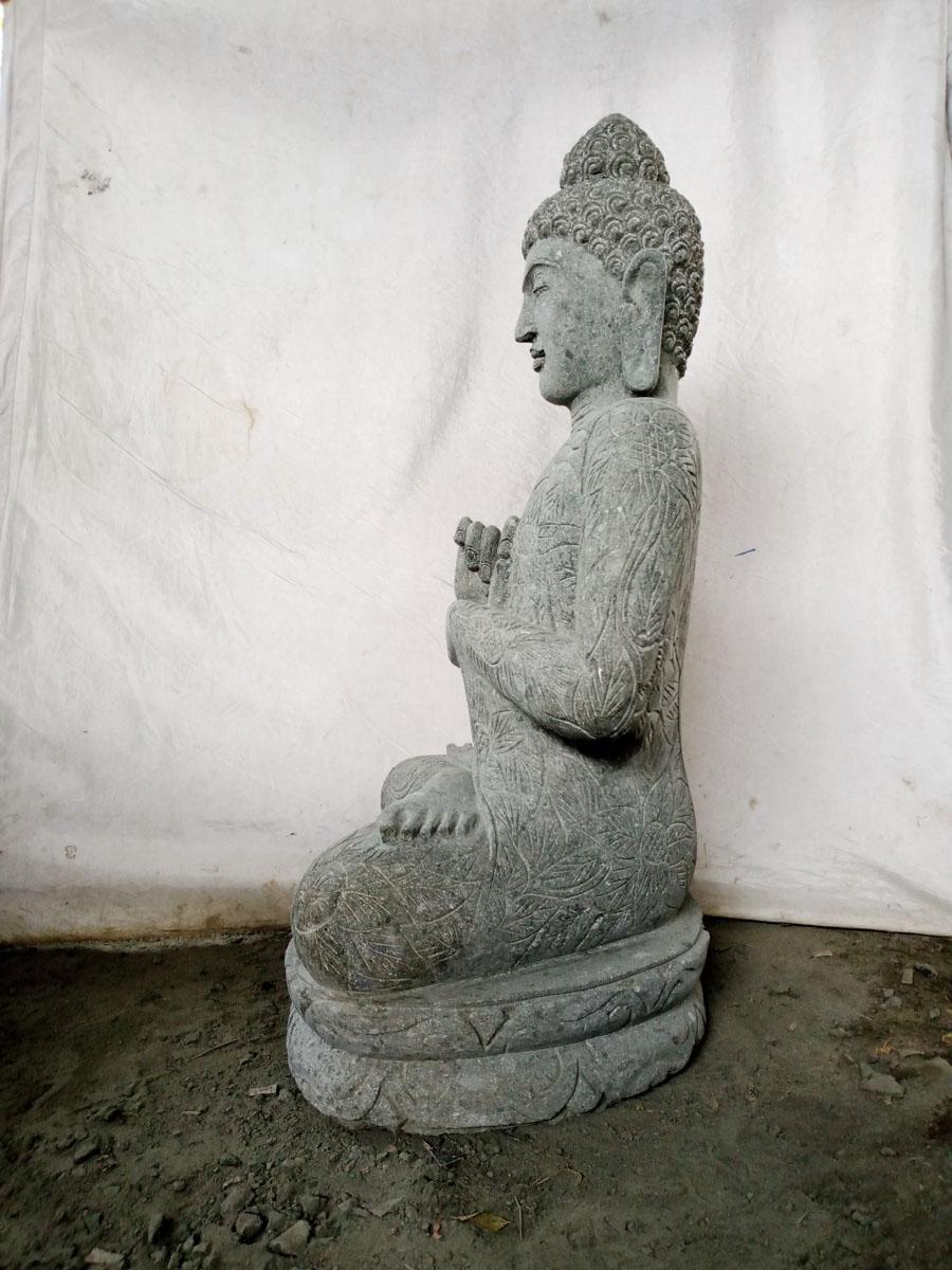 Estatua de buda de piedra volc nica de jard n posici n for Piedra volcanica para jardin