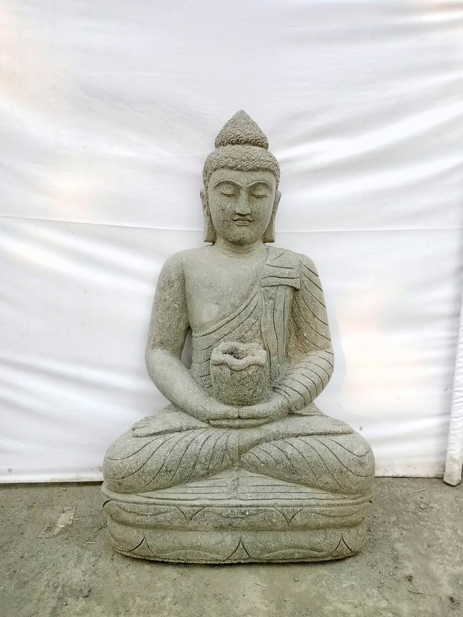 Estatua de jard n buda sentado de piedra volc nica posici n ofrenda bol 80cm - Estatuas de jardin ...
