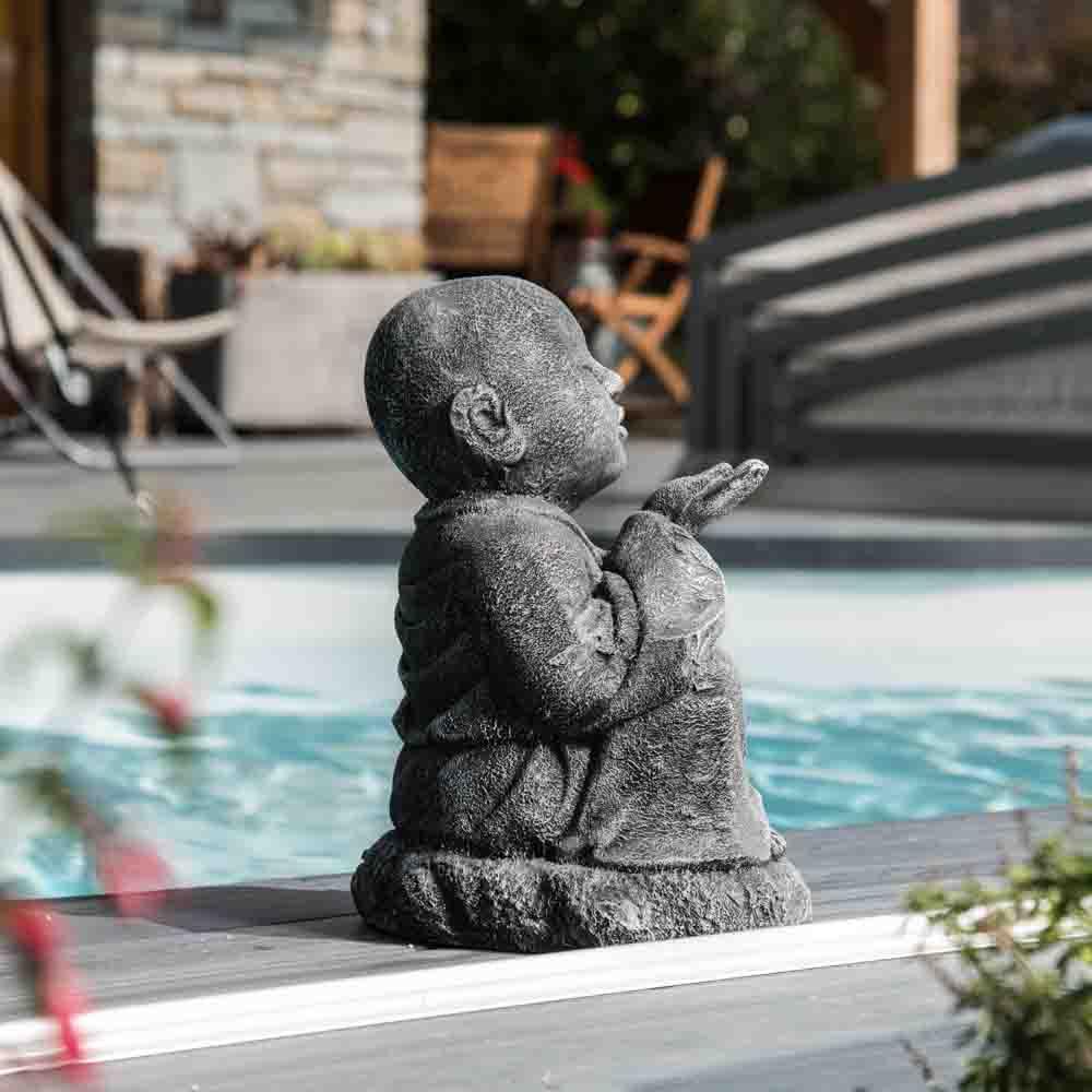 Estatua de jard n monje shaol n feliz con p tina gris 40 cm - Estatuas de jardin ...