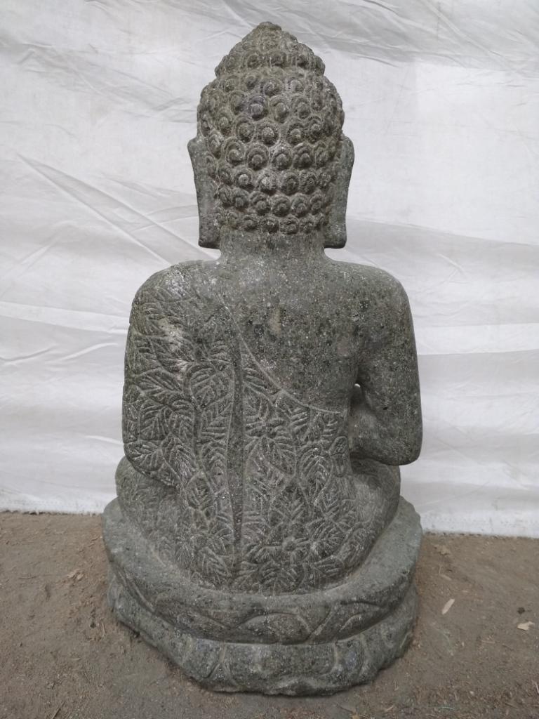 Estatua de piedra volc nica buda zen posici n chakra 50 cm for Piedra volcanica para jardin