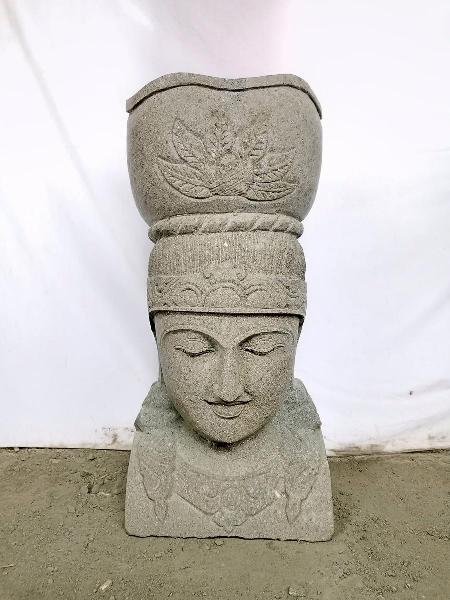 Estatua diosa balinesa de piedra volc nica maceta jard n 70 cm for Piedra volcanica para jardin