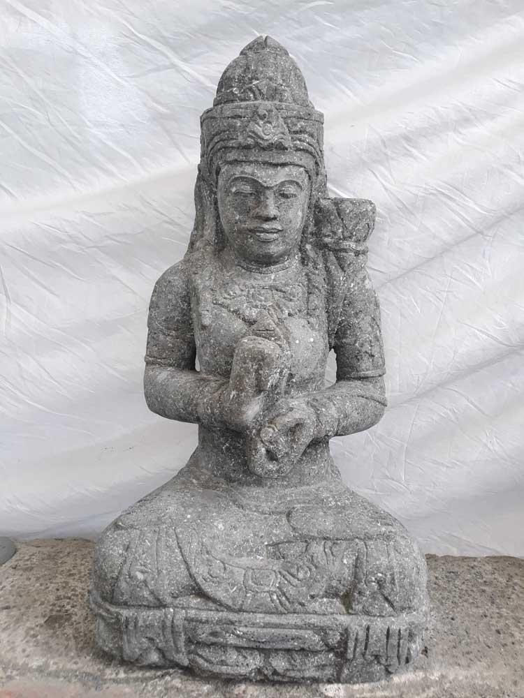 Estatua diosa sentada de piedra jard n zen flor 80 cm - Estatuas de jardin ...