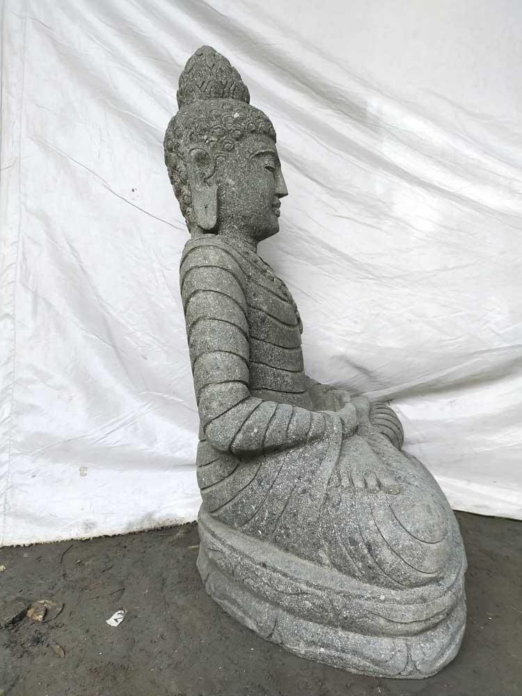 Estatua exterior jard n zen buda de piedra volc nica for Piedra volcanica para jardin