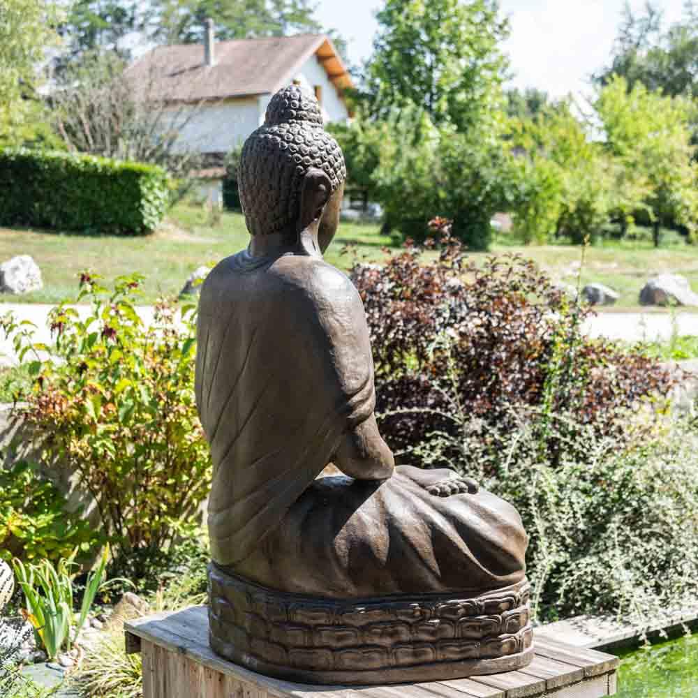 Estatua jard n buda sentado de fibra de vidrio posici n chakra 150 cm marr n - Estatuas de jardin ...