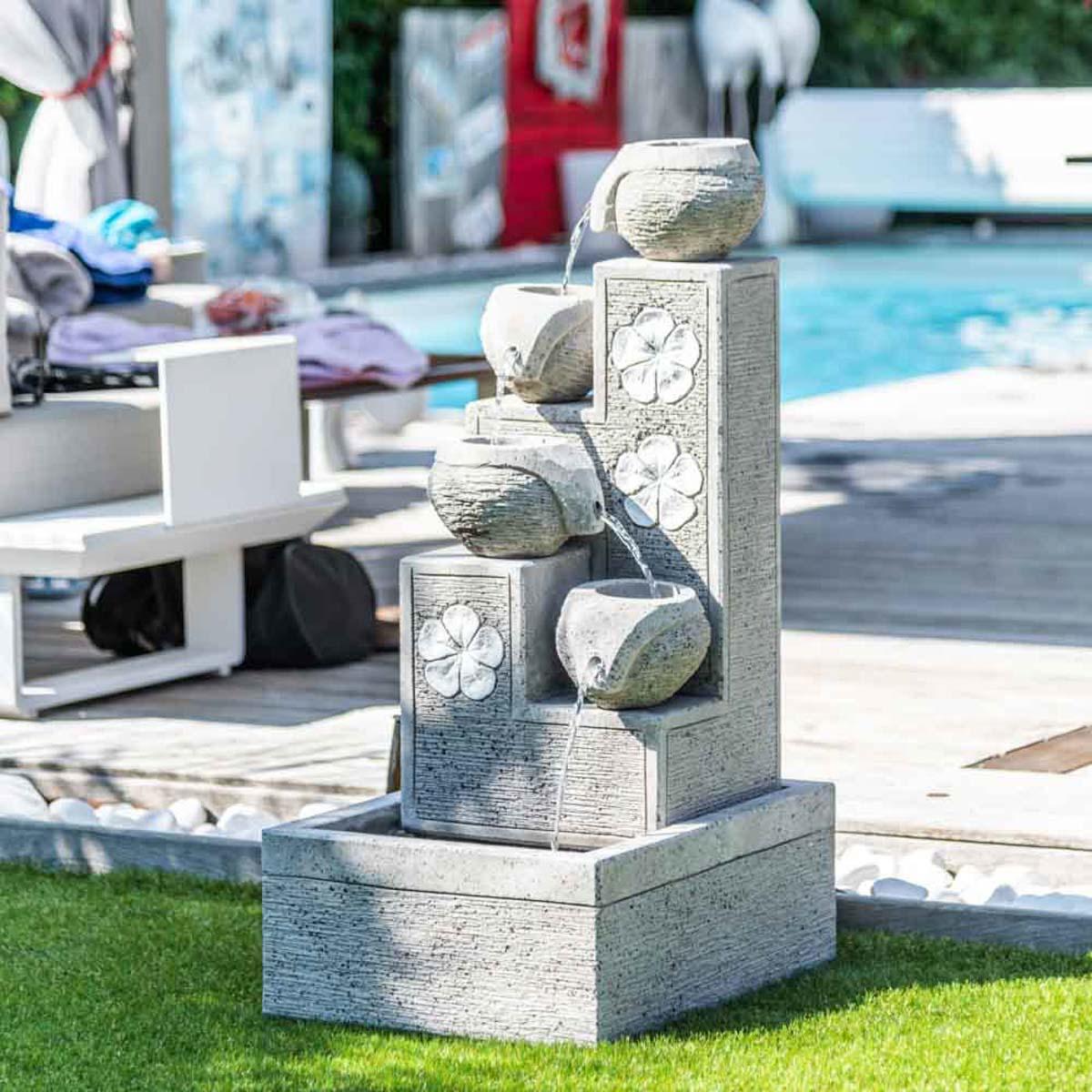 Fuente de jard n fuente exterior cascada 4 copas 90cm for Fuente cascada jardin