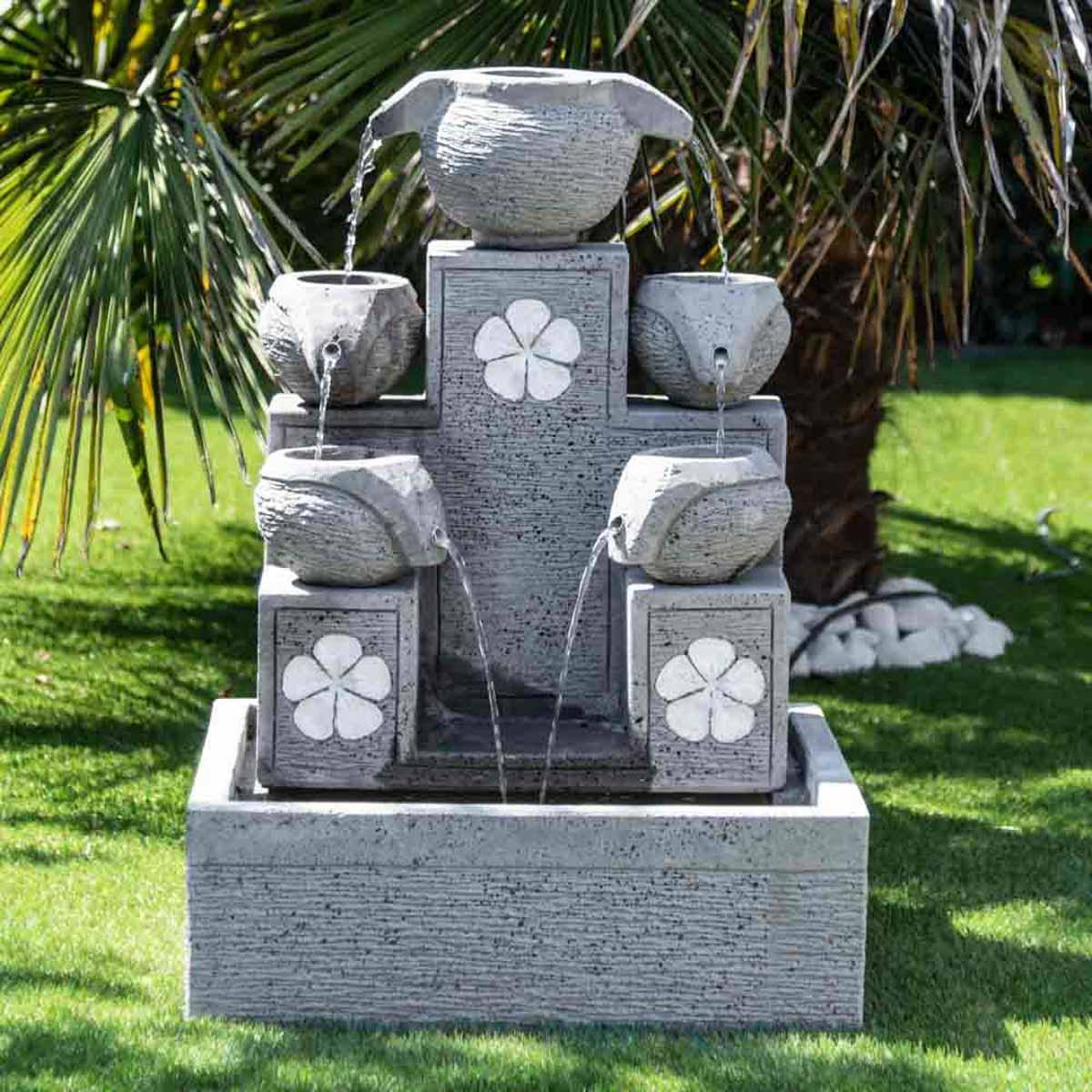 Fuente de jard n fuente exterior cascada 5 copas 90cm for Piedras decorativas jardin precio