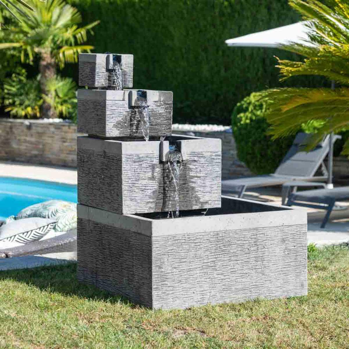 Fuente de jard n fuente desbordante estanque cuadrado 4 for Fuente estanque jardin