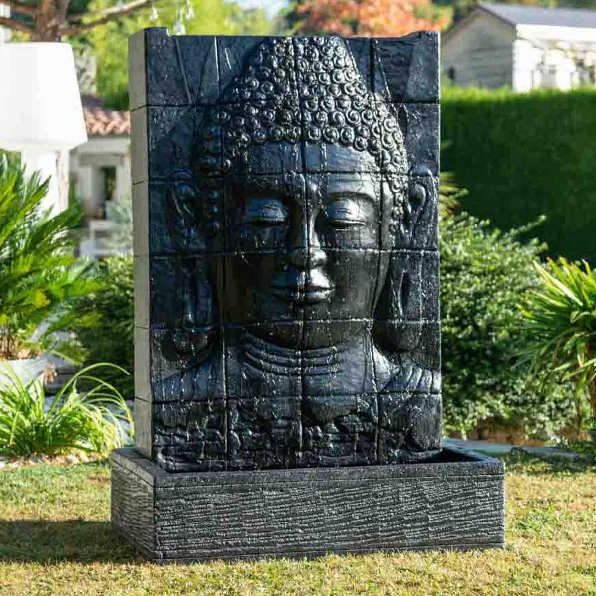 Pared de agua con estanque rostro de buda negro alto 1 50 m - Buda jardin ...