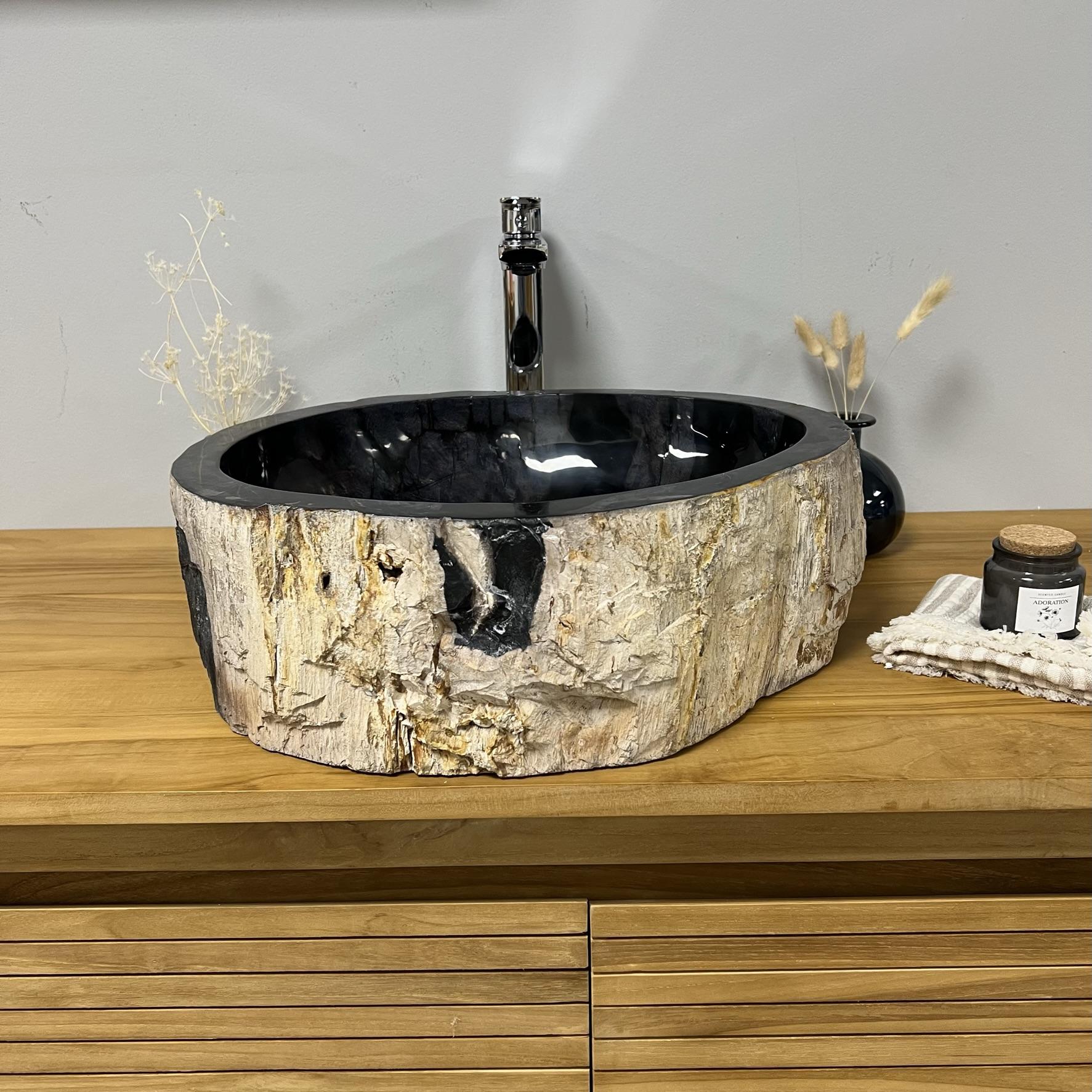 lavabo encimera de madera petrificada fosilizada 50 cm. Black Bedroom Furniture Sets. Home Design Ideas