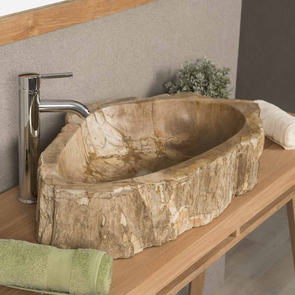 Lavabo de madera lavabo sobre encimera de madera for Lavabo madera