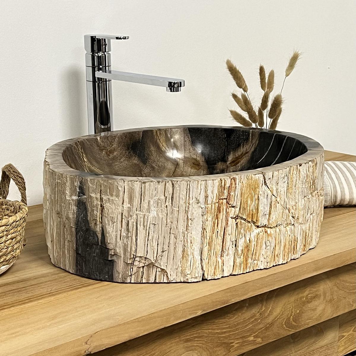 Lavabo lavabo encimera madera petrificada fosilizada - Habitacion de madera ...