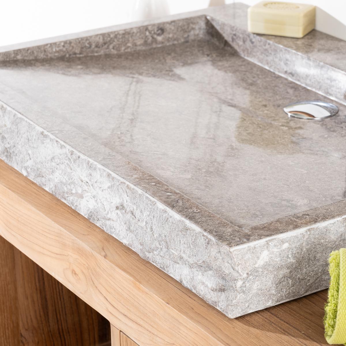 Lavabo encimera 70cm rect ngulo de piedra m rmol cosy gris for Encimera marmol gris