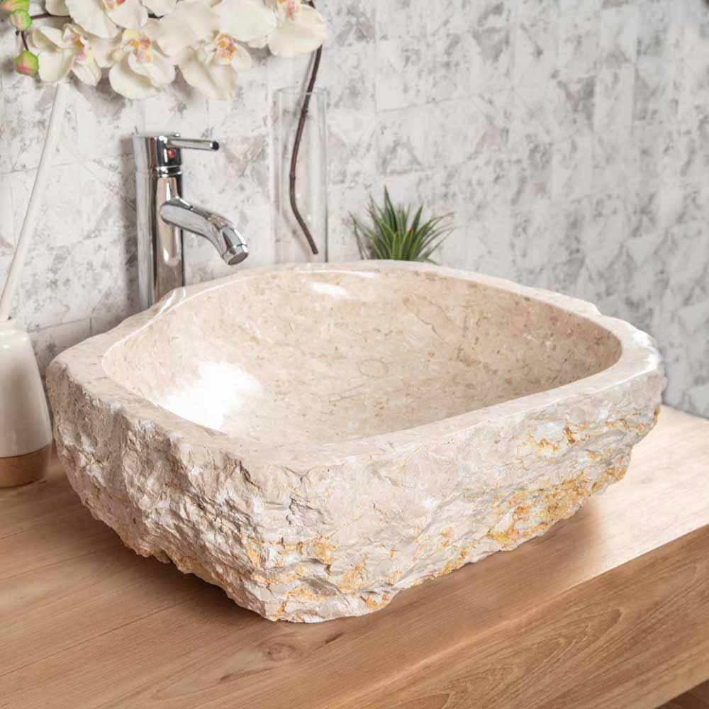 Lavabo encimera de ba o roca de m rmol crema 45 55cm for Roca marmol