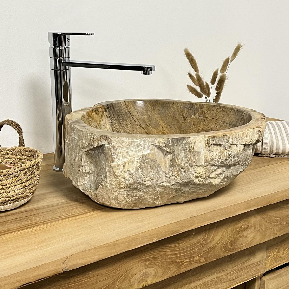Lavabo encimera de madera petrificada fosilisada 51 cm for Encimeras de madera para banos