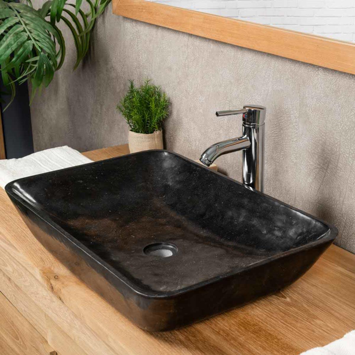 Lavabo encimera de mármol para cuarto de baño CARMEN 60 CM ...