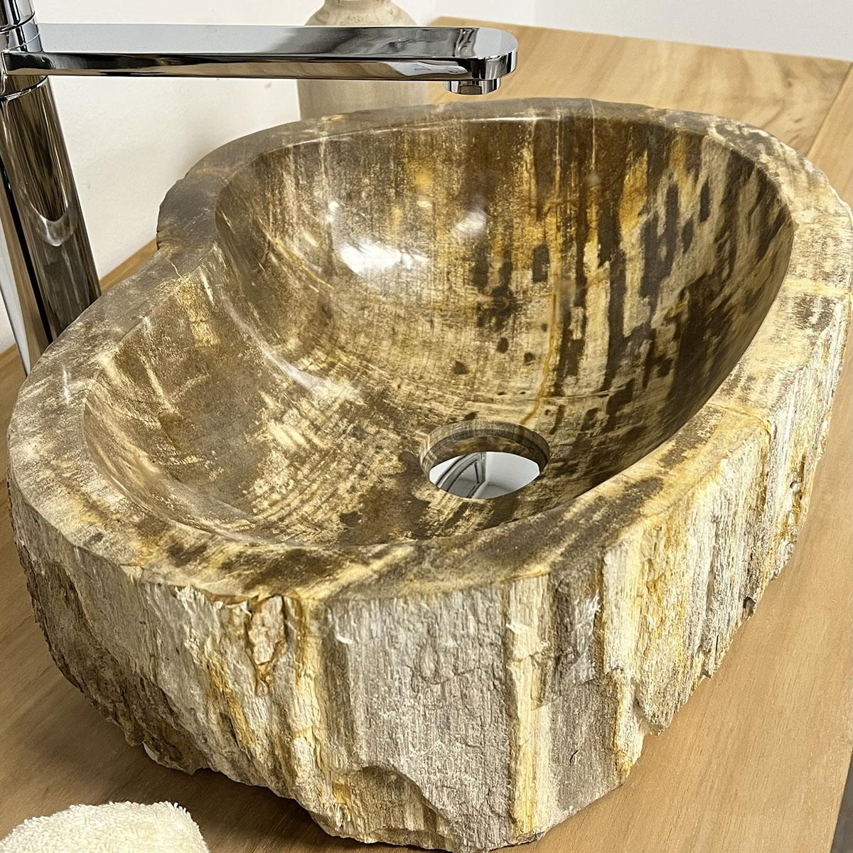 Lavabo lavabo encimera madera petrificada fosilizada - Bano de madera ...