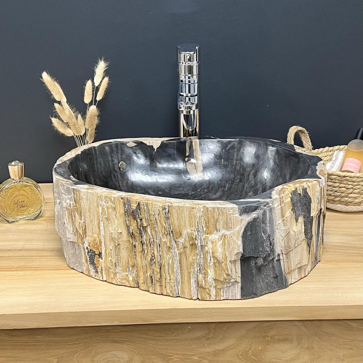 Lavabo de madera : Lavabo encimera de madera petrificada fosilizada ...