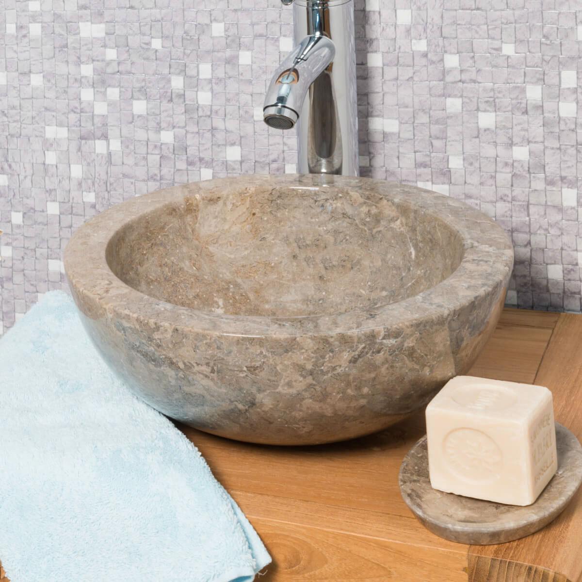 Lavabo encimera redondo barcelona de m rmol color gris 30cm for Encimera marmol gris