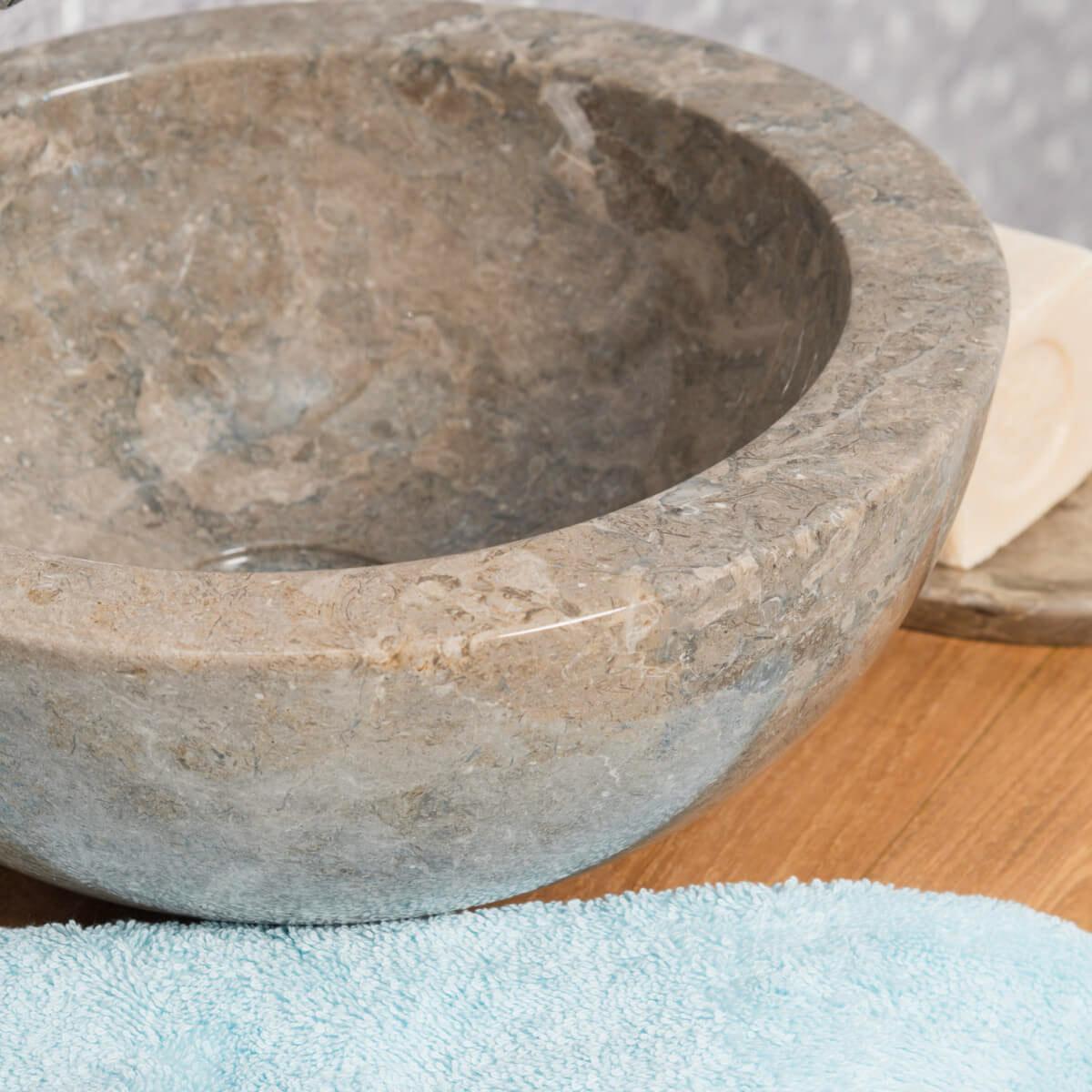 Lavabo encimera redondo barcelona de m rmol color gris 30cm for Marmol color gris