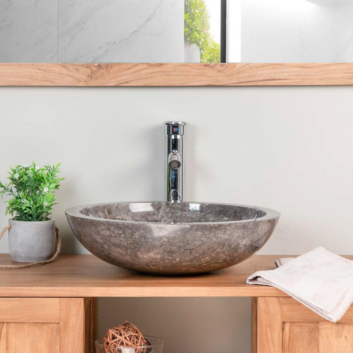 Lavabo encimera redondo barcelona de m rmol gris 45cm for Lavabo marmol
