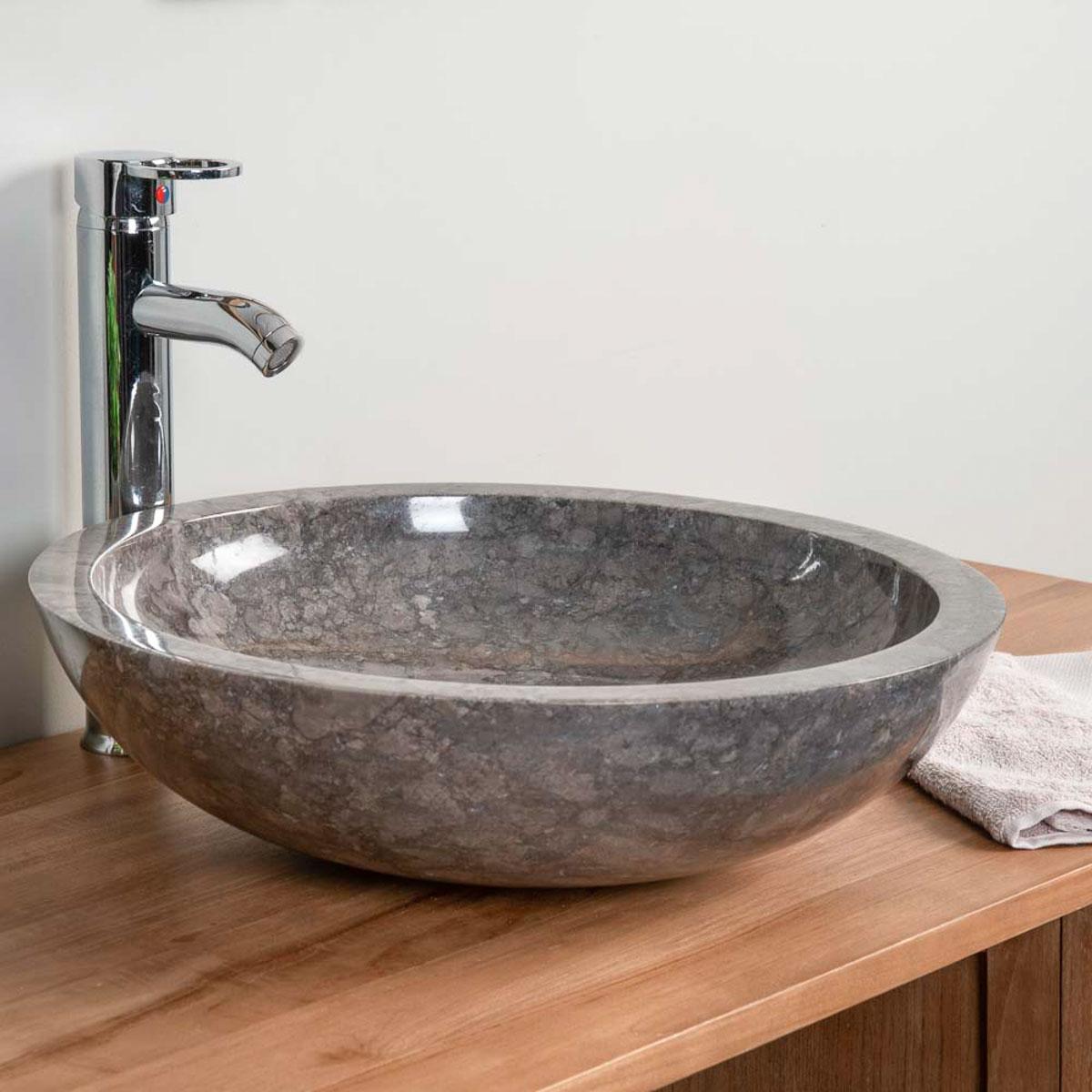 Lavabo encimera redondo barcelona de m rmol gris 45cm for Encimera marmol gris