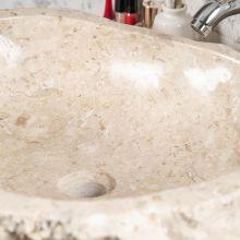 Lavabo sobre encimera de ba o roca de m rmol crema 45 55cm for Encimeras de marmol para banos precios
