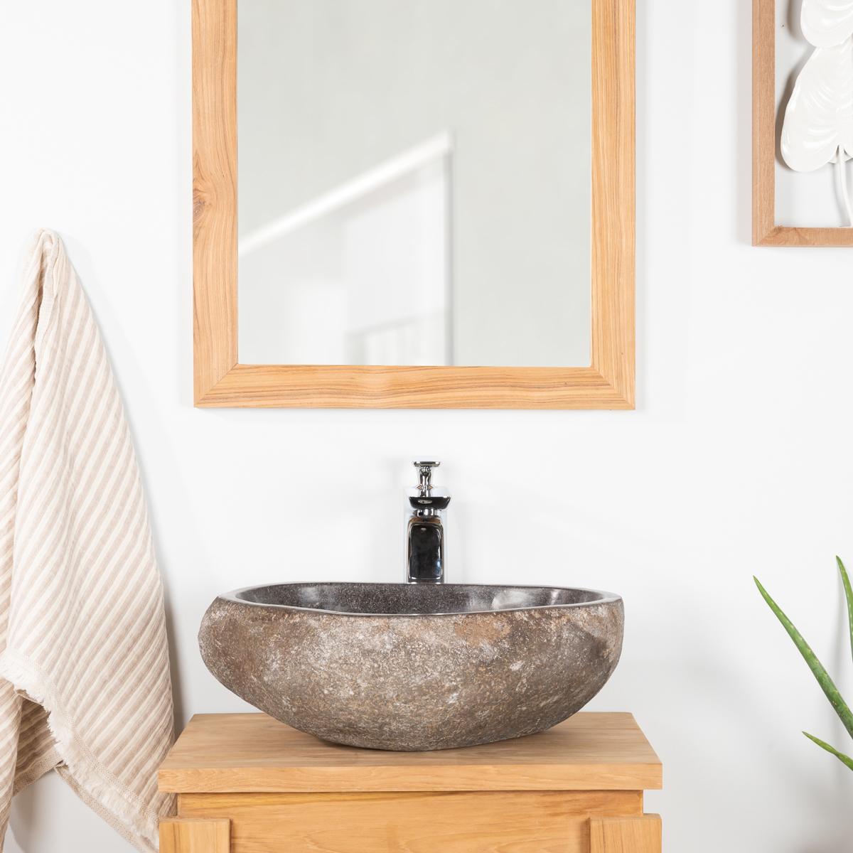 Lavabo sobre encimera de piedra de r o para ba o natural for Lavabo sobre encimera piedra