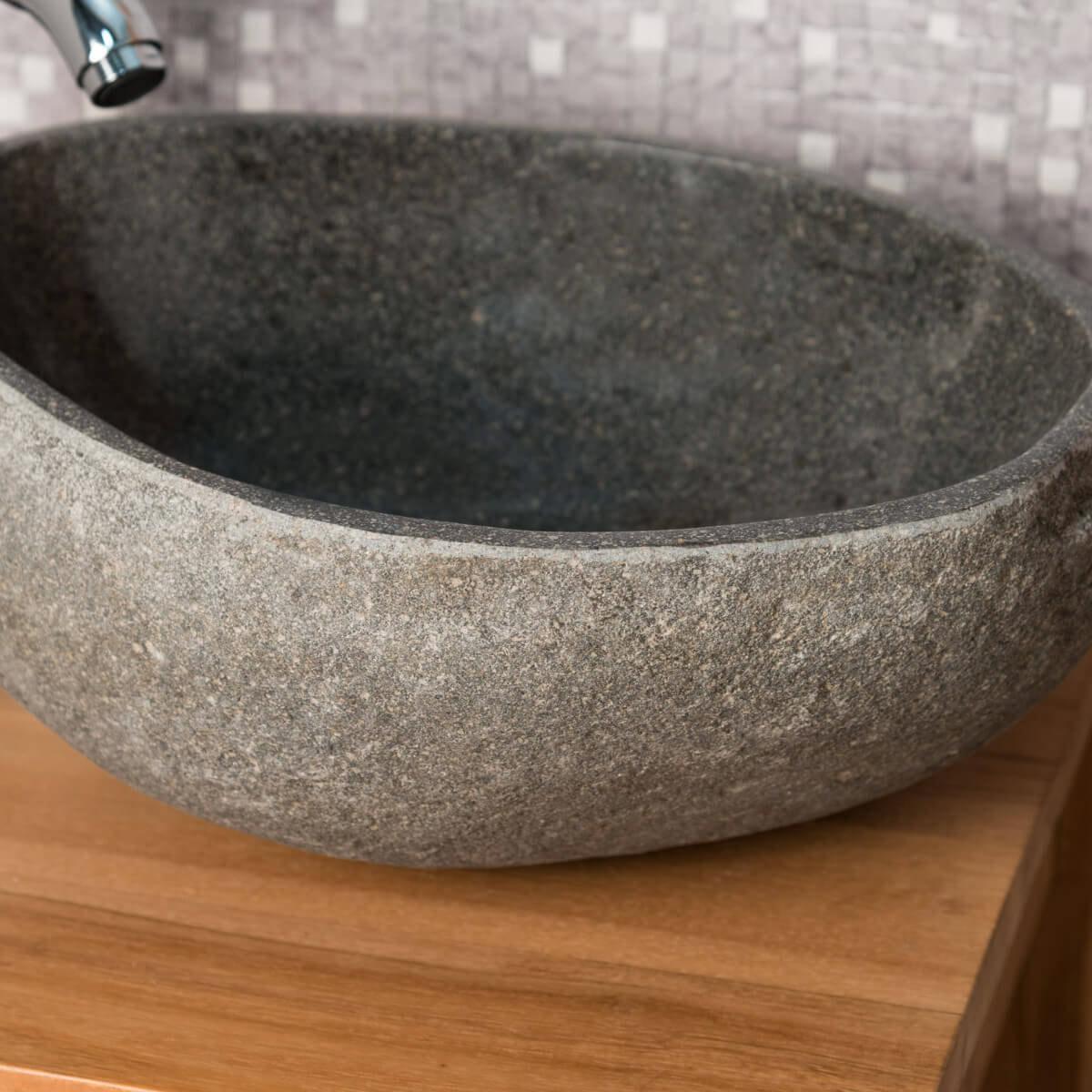 Lavabo sobre encimera de piedra de r o para ba o natural redondo di metro 30 cm - Lavabos de piedra natural ...