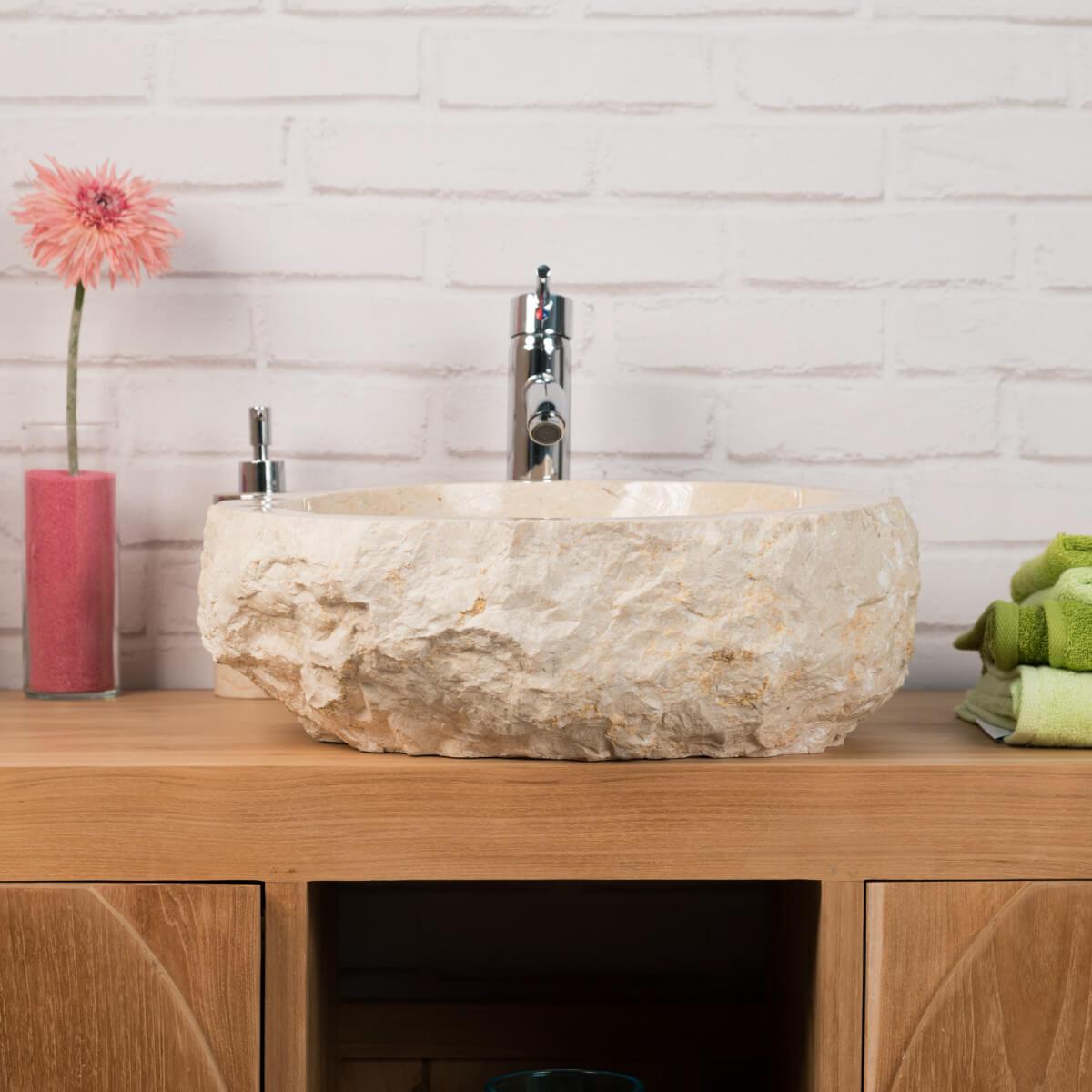 lavabo sobre encimera de mármol: Roca, rectángulo, crema, ancho: 35 ...
