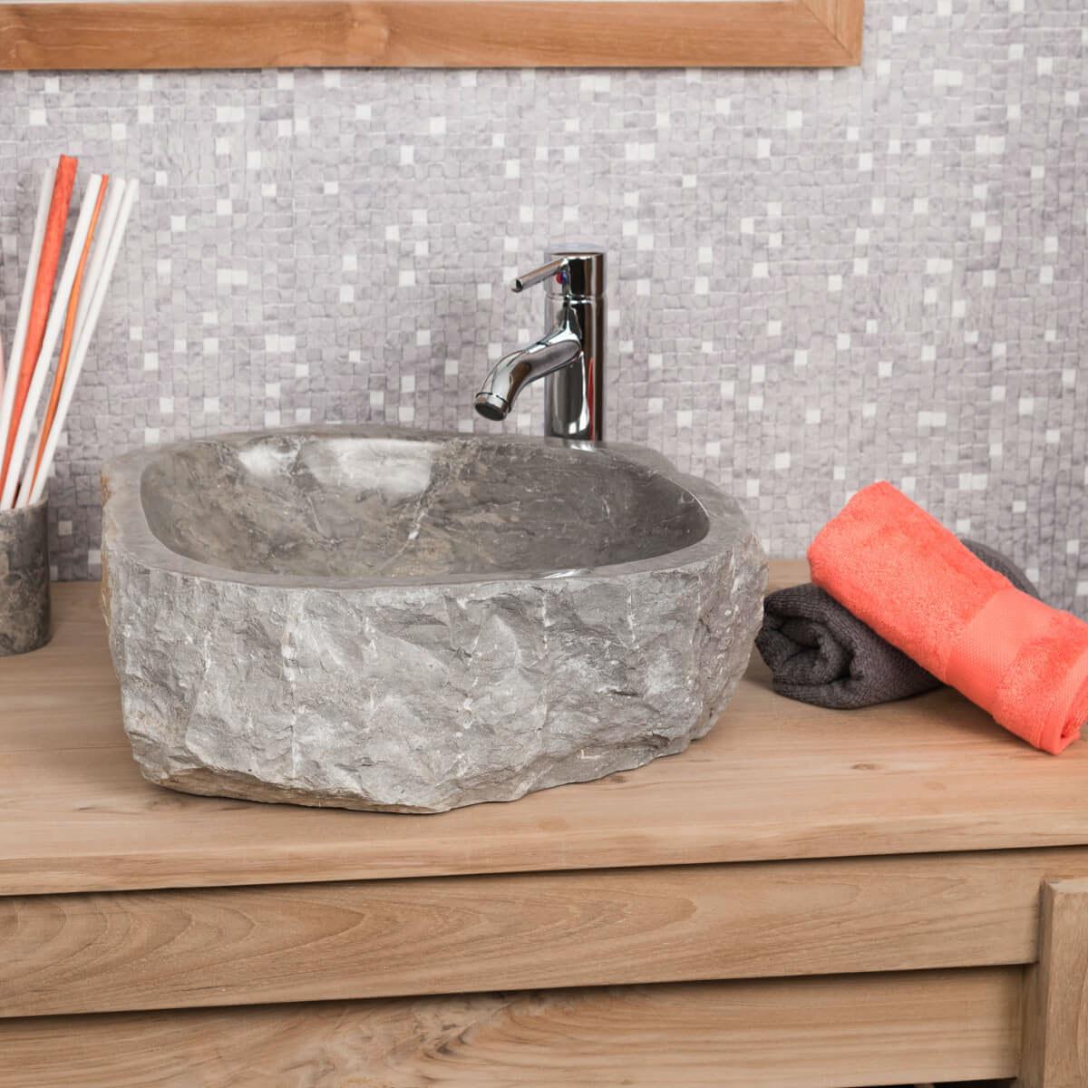 lavabo sobre encimera de mármol: Roca, rectángulo, gris, ancho: 35-40 cm