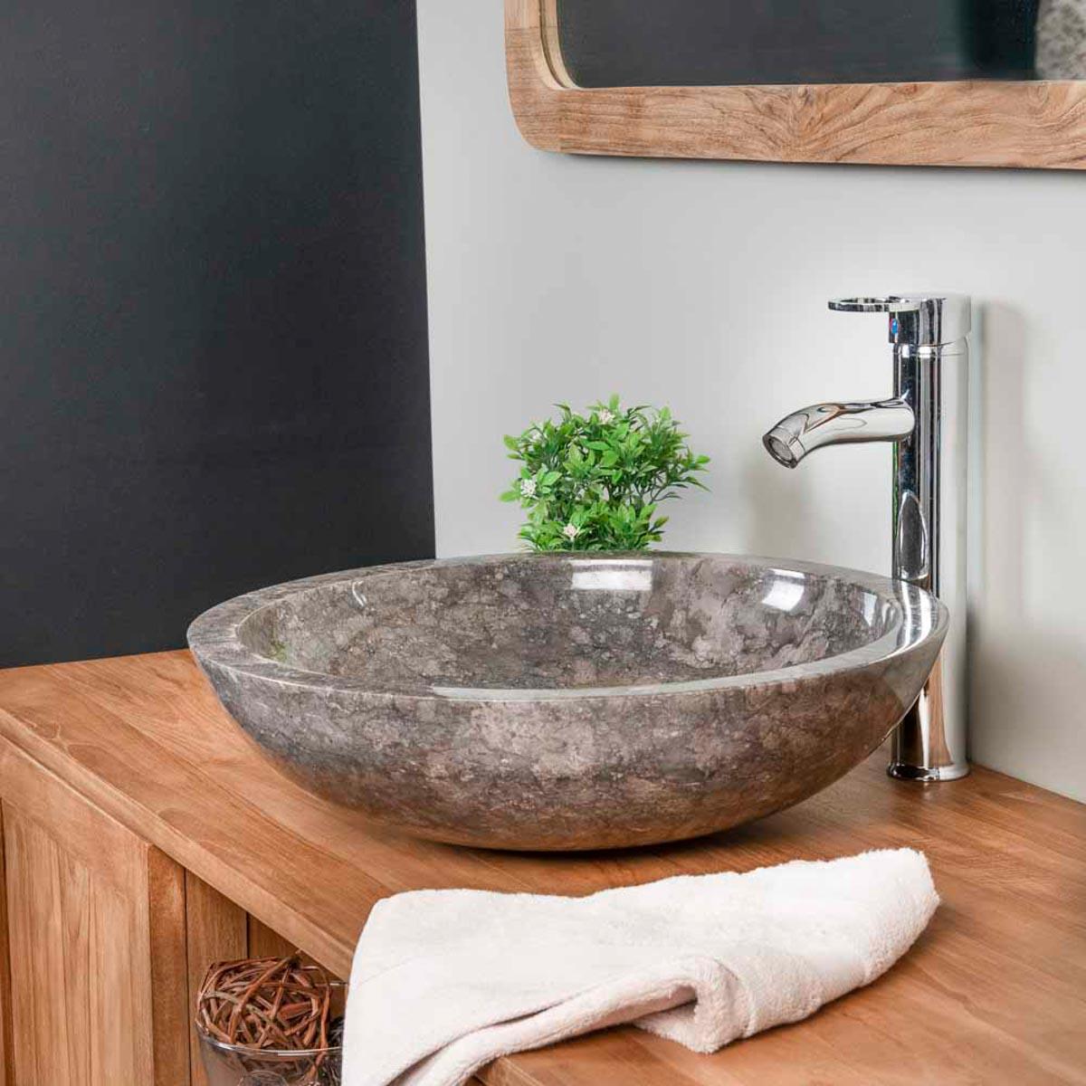 Lavabo sobre encimera redondo barcelona de m rmol gris 45cm for Encimera marmol gris