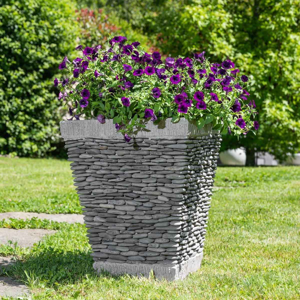 Maceta tiesto jardinera cuadrada piedra 50 cm jard n - Macetas para jardin exterior ...