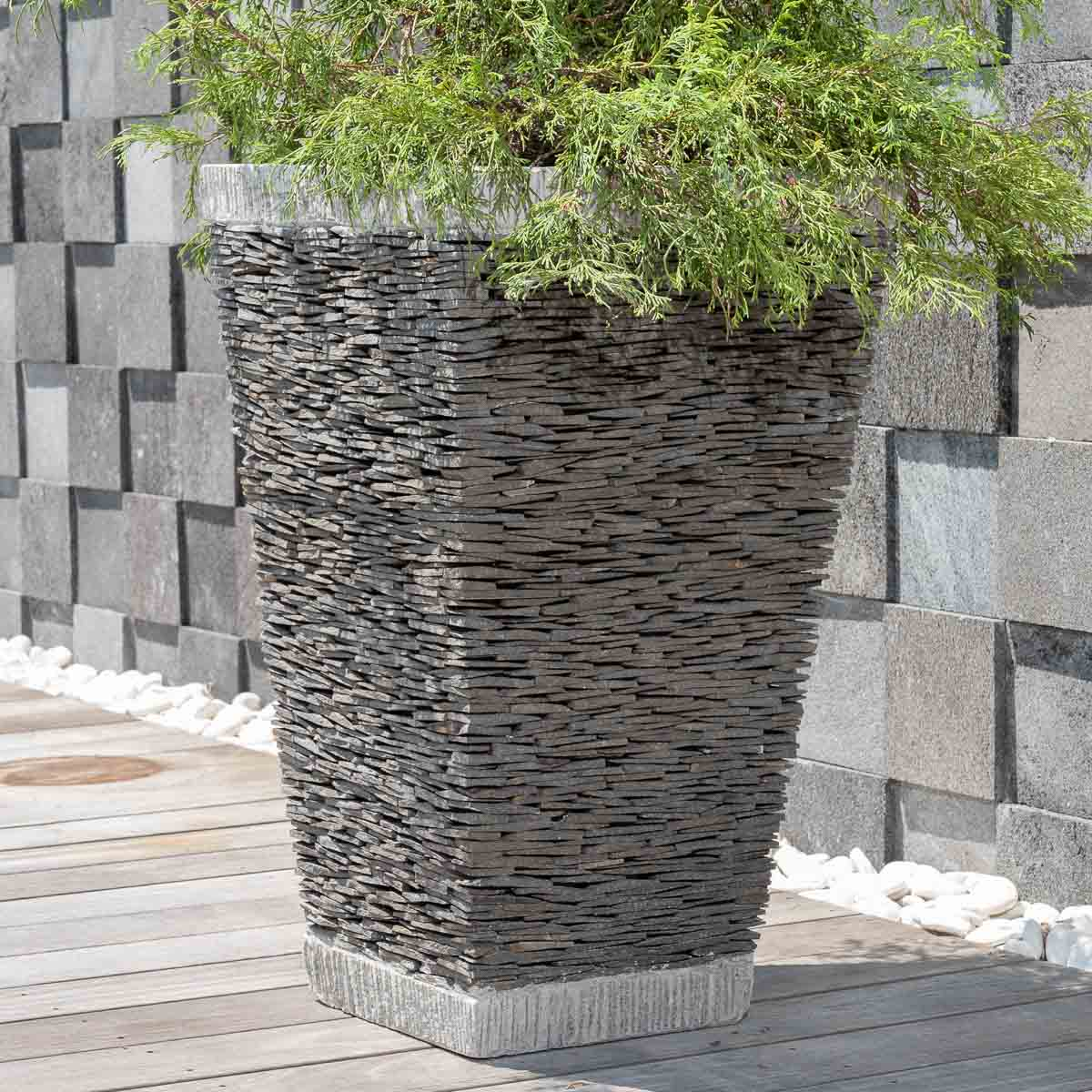 Maceta tiesto jardinera cuadrada pizarra 80cm piedra natural for Jardineras de piedra natural