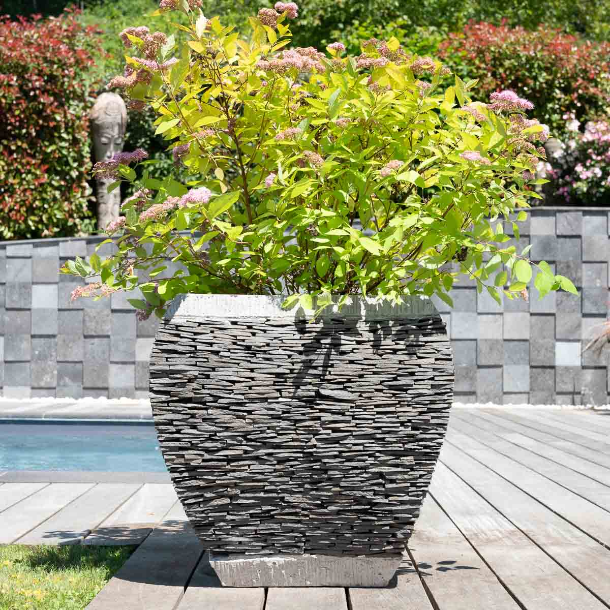 Maceta tiesto jardinera moldeada pizarra piedra natural for Jardineras de piedra natural