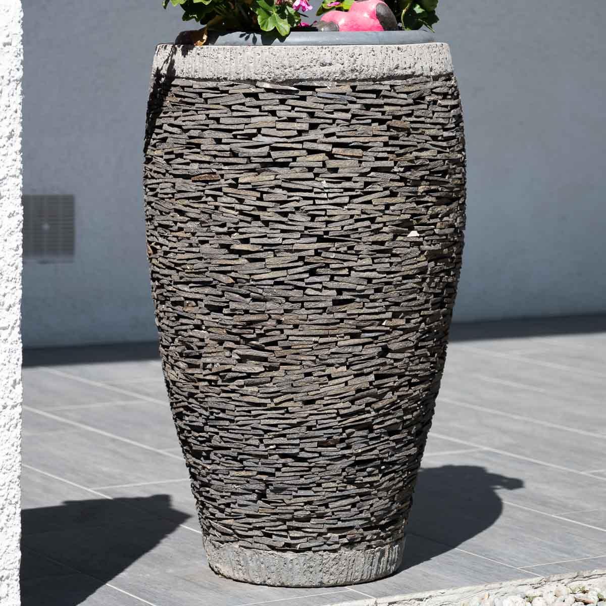 Maceta tiesto jardinera ovalada pizarra 80 cm jard n for Jardines en piedra natural