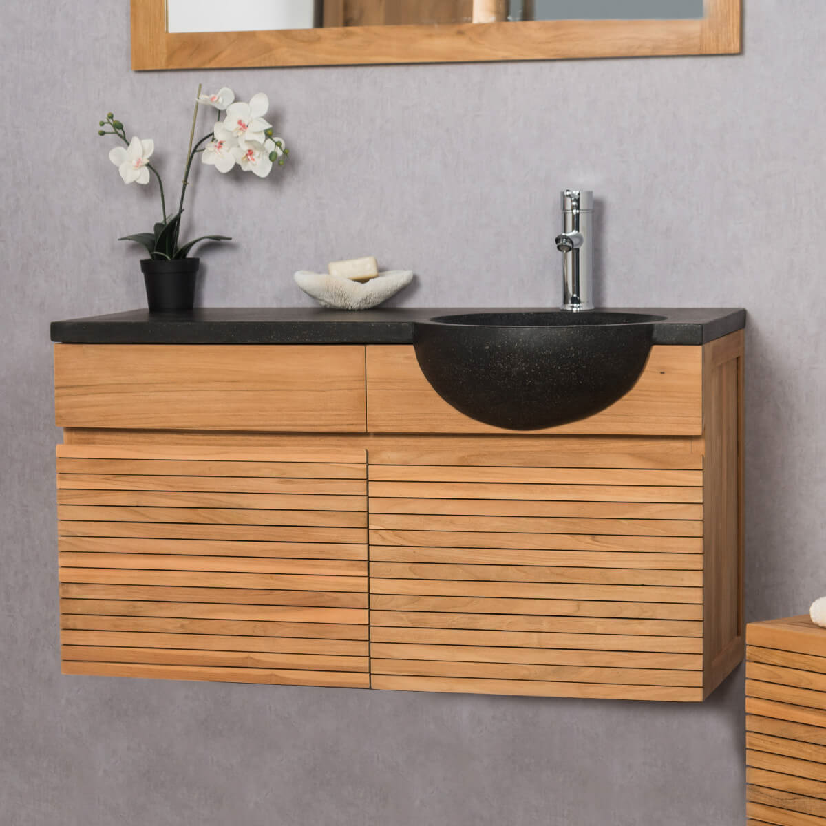 mueble suspendido para lavabo simple de madera teca